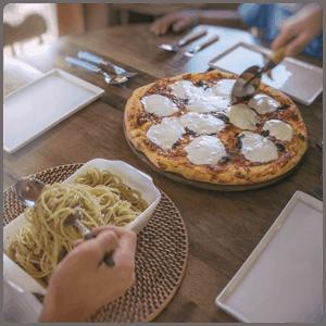 Pizza Margherita and Peperoncino Pasta