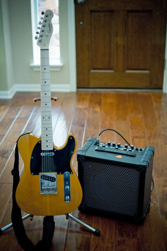 Squier Tele and Roland Cube 30