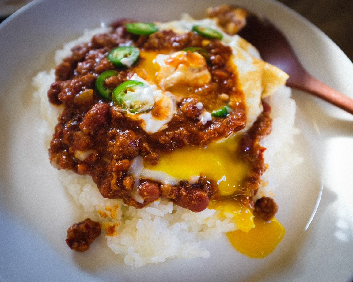 """Chili and Egg over Rice"" Cedar Park, 2017"