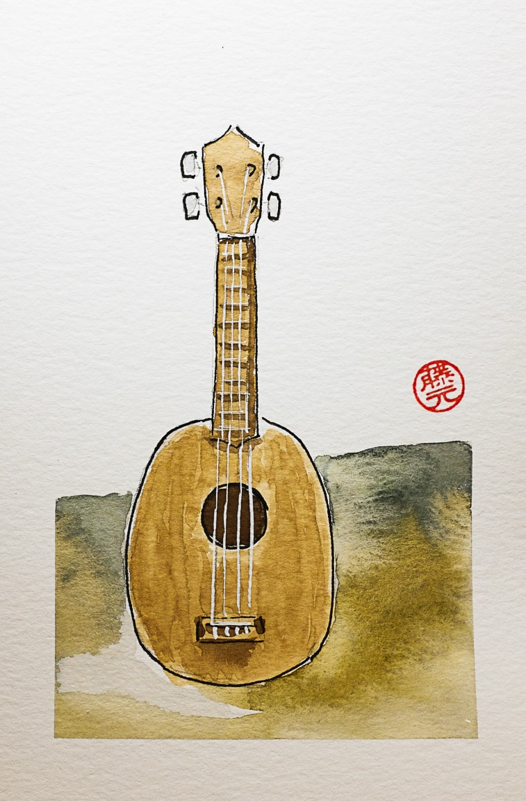 """Ukulele Watercolor"" Cedar Park, 2018"
